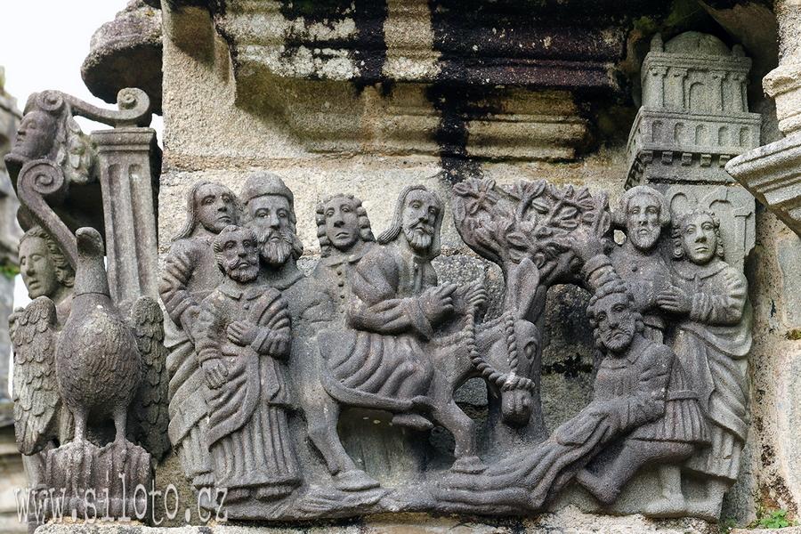 Příjezd do Jeruzaléma - detail z Kalvárie v Guimiliau Enclos Paroissial
