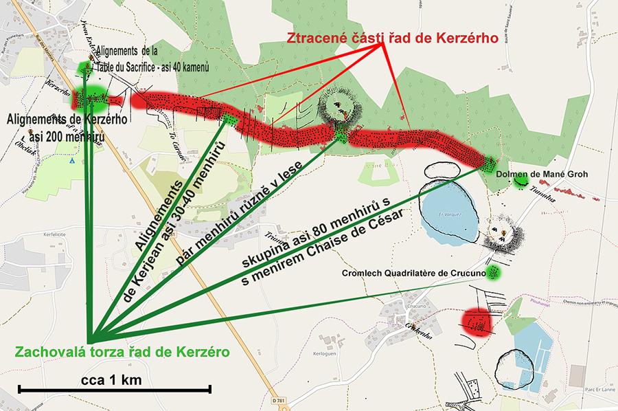 Mapa – řady Kerzérho
